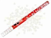 Vystreľovacie konfety 80 cm srdcia biele