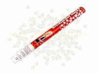 Vystreľovacie konfety 60 cm srdcia biele