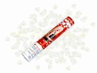 Vystreľovacie konfety 40cm srdcia biele