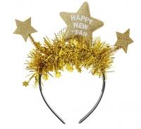 Čelenka Happy New Year zlaté hviezdy