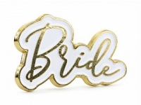 Odznak Bride to be biely kov