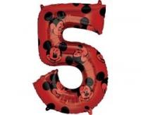Fóliový balón Mickey č.5, červený