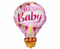 Fóliový balón New Baby ružový, 60cm