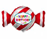 Fóliový balón Happy Birthday cukrík, 60cm