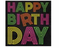 Servítky Happy Birthday neon